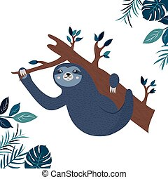 perezoso, ahorcadura, rama, ilustración, divertido