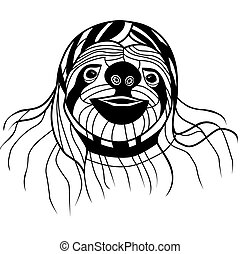 perezoso, cabeza, t-shirt., tatuaje, bosquejo, ilustración, vector, animal, design.