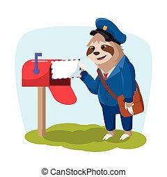 perezoso, entregar el correo