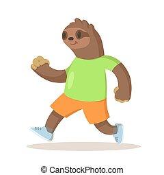 perezoso, ilustración, llevando, ropa de deporte, lindo, marrón, aislado, corriente, vector, fondo., caricatura, character., plano, blanco