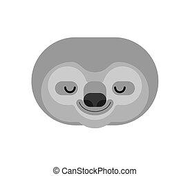 perezoso, isolated., lazybones, cara, cartoon., vector, animal
