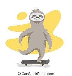 perezoso, lindo, cartel, ilustración, camiseta, vector, skateboard., impresión, equitación, feliz, o, design.