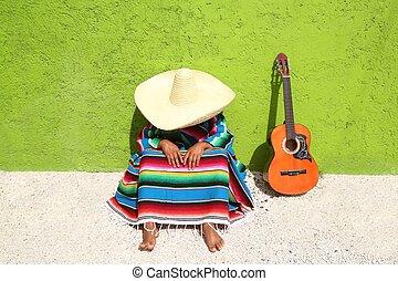 perezoso, mexicano, sentado, sombrero, siesta, hombre,...