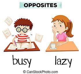 perezoso, ocupado, palabras, contrario