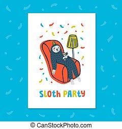 perezoso, perezoso, armchair., cómodo, cóctel, lindo, vector, animal, bebida, fiesta., illustration.