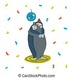 perezoso, perezoso, illustration., bailando, baile, pareja, floor., vector, animal, sloths, fiesta.