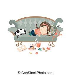 perezoso, sueño, niña, gato