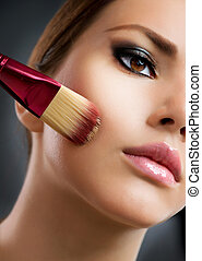 perfect, aan het dienen, cosmetic., base, make-up., make-up