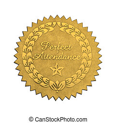 Gold Star Foil Seal Perfect Attendance Isolated on White Background.