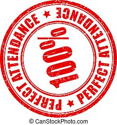 Perfect attendance vector stamp