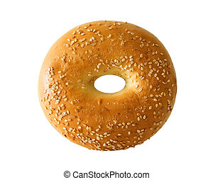 Bagel with sesame seeds on white