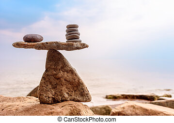 Perfect balance of stones - Perfect balance of pebbles on...