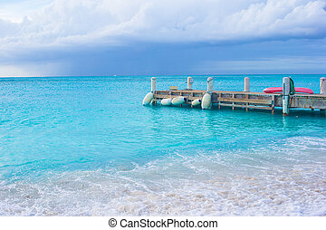 Perfect beach with pier at caribbean island in Turks and Caicos