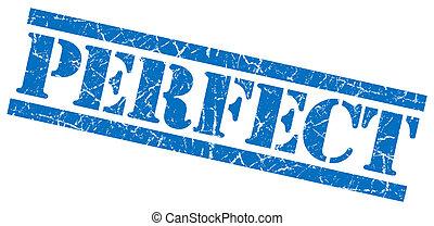 perfect, blauwe , grunge, postzegel, vrijstaand, witte