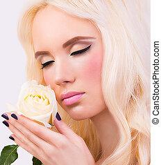 perfect, blonde, makeup, meisje