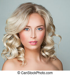 Perfect Blonde Woman with Healthy Skin and Blond Curly Hairstyle. Facial Treatment and Cosmetology
