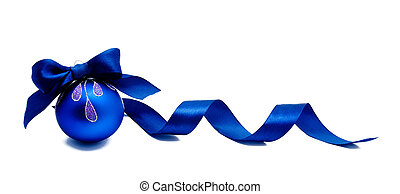 Perfect blue christmas ball with ribbon isolated