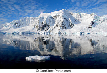 Perfect blue ocean and reflection in Antarctica