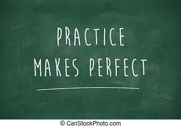 perfect, bord, praktijk, maakt, met de hand geschreven