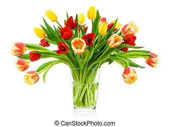 Perfect bouquet of tulips in a vase