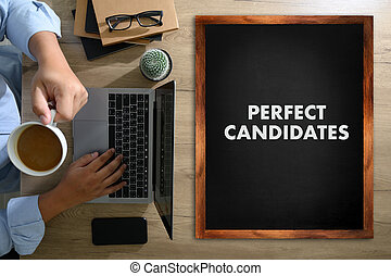 PERFECT CANDIDATES CONCEPT Business team hands at work with financial reports and a laptop