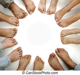 Perfect circle of legs isolated, concept with copy space