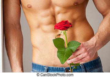perfect, close-up, haar., muur, roos, jonge, gespierd, terwijl, vasthouden, neiging, verrassing, torso, rood, man