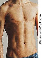 perfect, close-up, torso., shirtless, jonge, stnading, grijze , tegen, achtergrond, mannelijke , torso, man
