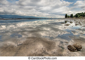 Perfect Clouds Reflection with Vancouver Skyline