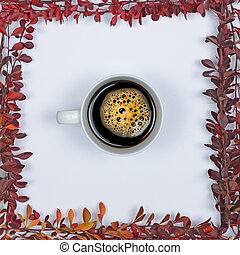 Perfect cup of coffee on white background with autumn leaves - Flat lay of Autumnal background