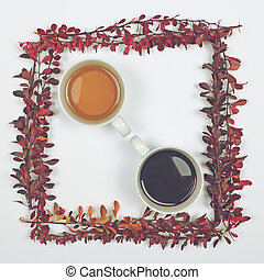 Perfect cup of tea and coffee on white background with autumn leaves - Flat lay of Autumnal background