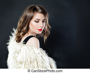 Perfect Fashion Model with Curly Bob Hairstyle on Black Background
