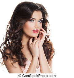 Perfect Fashion Model Woman with Long Curly Hair Isolated on White Background