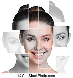 Perfect female face made of different faces