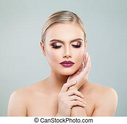 Perfect female face. Pretty young woman portrait