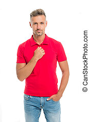Perfect fit. Daily outfit. Man handsome in red shirt. Guy with bristle wear casual outfit. Model clothes shop. Menswear fashionable clothing. Man calm face posing confidently. Comfortable outfit