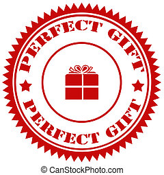 Perfect Gift-stamp - Rubber stamp with text Perfect...