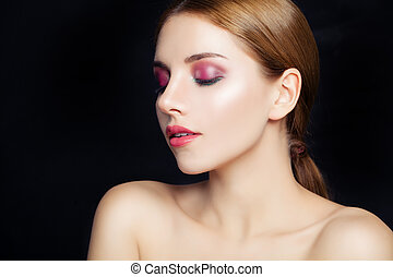 Perfect girl with makeup on black background