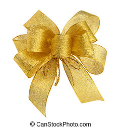 Perfect golden bow - Ornamental golden bow on pure white...