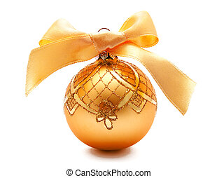 Perfect golden christmas ball with ribbon isolated
