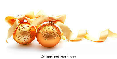 Perfect golden christmas balls with ribbon isolated