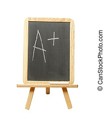 Perfect Grade - An a plus is wrote on a student chalkboard...