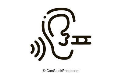 Perfect Hearing Icon Animation. black Perfect Hearing animated icon on white background