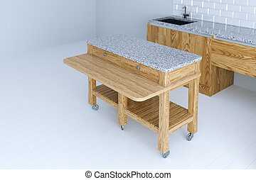 Perfect idea for kitchen interior design with wooden furniture 3d render