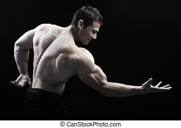 perfect, lichaam, ontzagwekkend, -, bodybuilder, het poseren...
