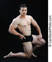 perfect, lichaam, ontzagwekkend, -, bodybuilder, het...