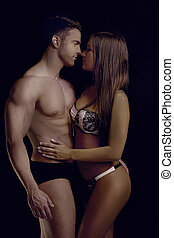 perfect, lichaam, paar, pose, sensually