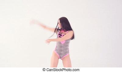 perfect, lichaam, sexy, vrouw dansen