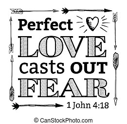 Perfect Love Casts out Fear Christian Hand Drawn Bible...