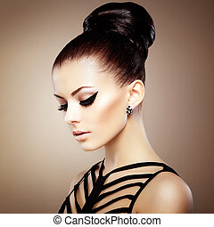 perfect, makeup., sensueel, hairstyle., mooi, mode, elegant...